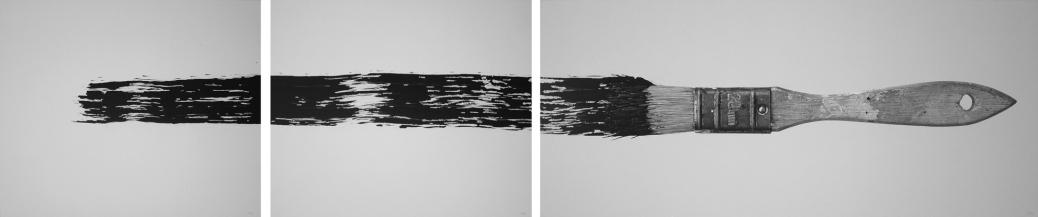 "RÓMULO CÉLDRAN, ""Abstracting I"", 2012 | lápis e acrílico sobre tela, tríptico (76 x 92 cm), (76 x 92 cm), (76 x 176 cm)"
