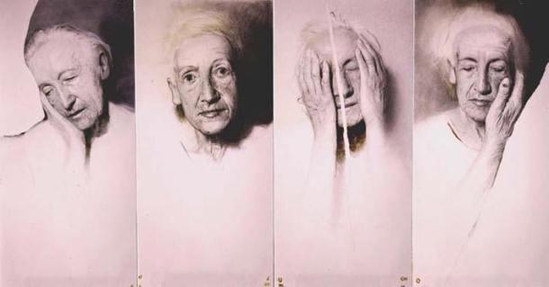 """GOLUCHO , """"Cuatro poses"""", 2004   lápis e acrílico sobre papel (280 x 150 cm)"""