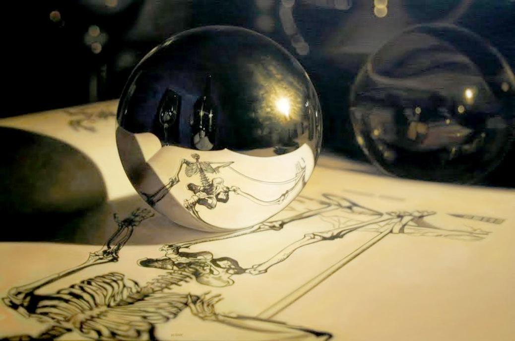 "JASON DE GRAAF |""Vesalius skeleton"" (acrílica sobre tela)"