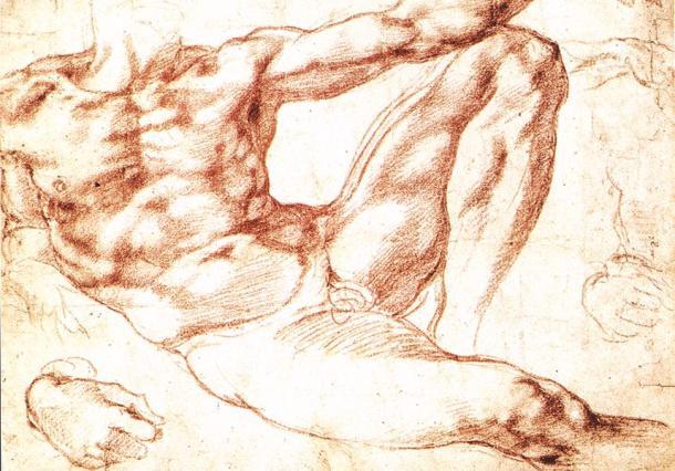 """MICHELANGELO BUONAROTTI, o maior conhecedor de Anatomia do período renascentista (estudo para """"A Criação do Homem"""", sanguínea, 1511)"""