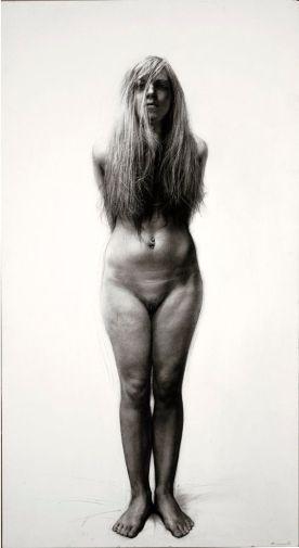 "STEVEN ASSAEL, ""Rene Standing (2009) | grafite e crayon sobre papel"