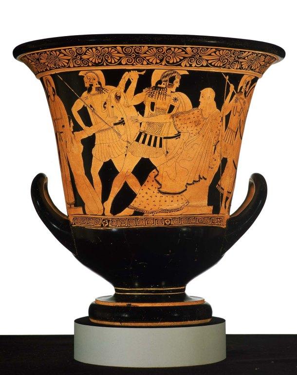 Calyx krater (com cenas da queda de Tróia) Grécia, período clássico (470–460 aC)