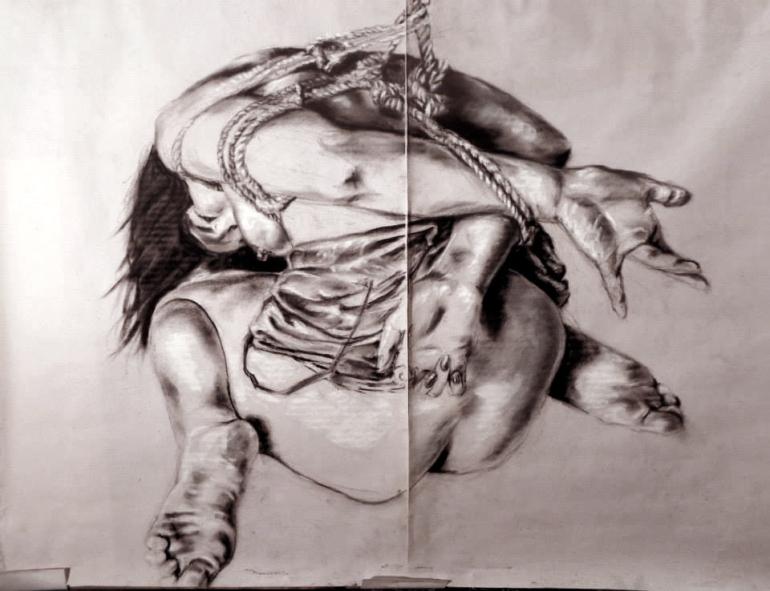 "GUSTAVOT DIAZ, 2014 | da série ""NOBUYOSHI ARAKI | , III (carvão e pastel, 65X50cm)"