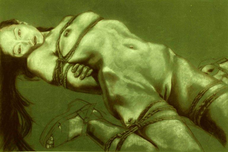 "GUSTAVOT DIAZ, 2014 | da série ""NOBUYOSHI ARAKI, II (carvão e pastel, 65X50cm)"