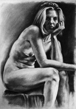 """GUSTAVOT DIAZ, """"Fernanda"""" 2011   carvão sobre papel, estudo para tela (90X50cm)"""