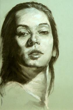 "GUSTAVOT DIAZ, ""Helena"" 2013   carvão e pastrel sobre Mi-Teintes (65X50cm)"
