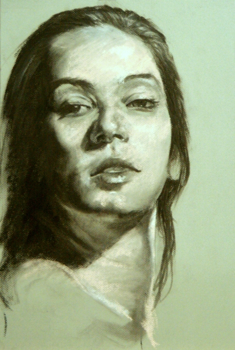 "GUSTAVOT DIAZ, ""Helena"" 2013 | carvão e pastrel sobre Mi-Teintes (65X50cm)"