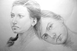 """GUSTAVOT DIAZ, """"Cândida e Carol"""" 2009   carvão e pastel sobre papel (65X50cm)"""
