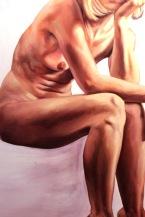"""GUSTAVOT DIAZ, 2014   """"Vanitas"""" da série EX TRADIÇÃO, II (óleo sobre tela, 120x70cm) EM PROCESSO"""