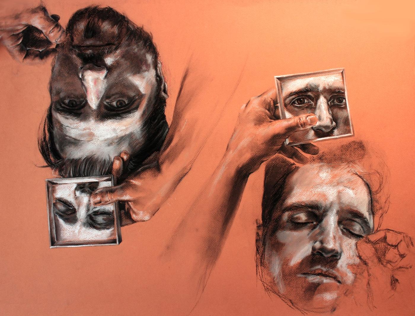 "GUSTAVOT DIAZ, 2018 | ""Selfie portrait"", da série ESCUTA | carvão e pastel sobre papel Mi-teintes (65x50cm)"