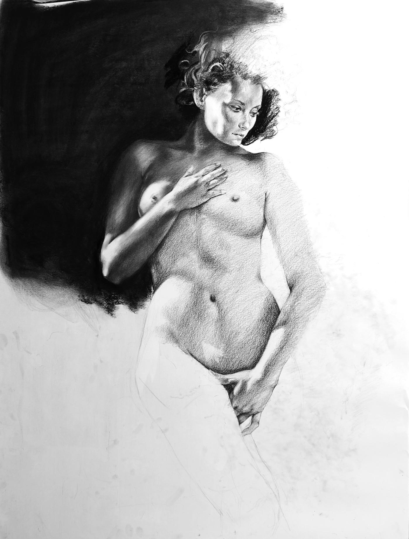"""GUSTAVOT DIAZ, 2014   """"O Nascimento de Vênus"""", da série EX TRADIÇÃO (carvão sobre papel, 90x70cm)  EM PROCESSO"""