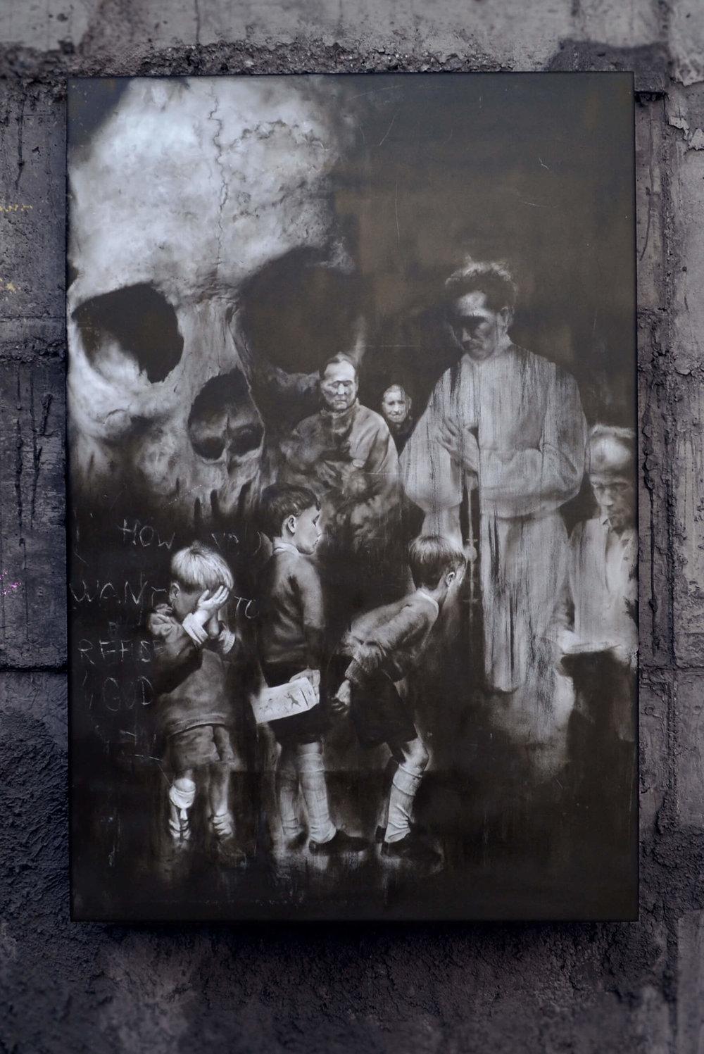 "IGOR DOBROWOLSKI ""Real God"" (Left top  inscription) ""How you want to refuse god"", 2018 | óleo sobre plywood"