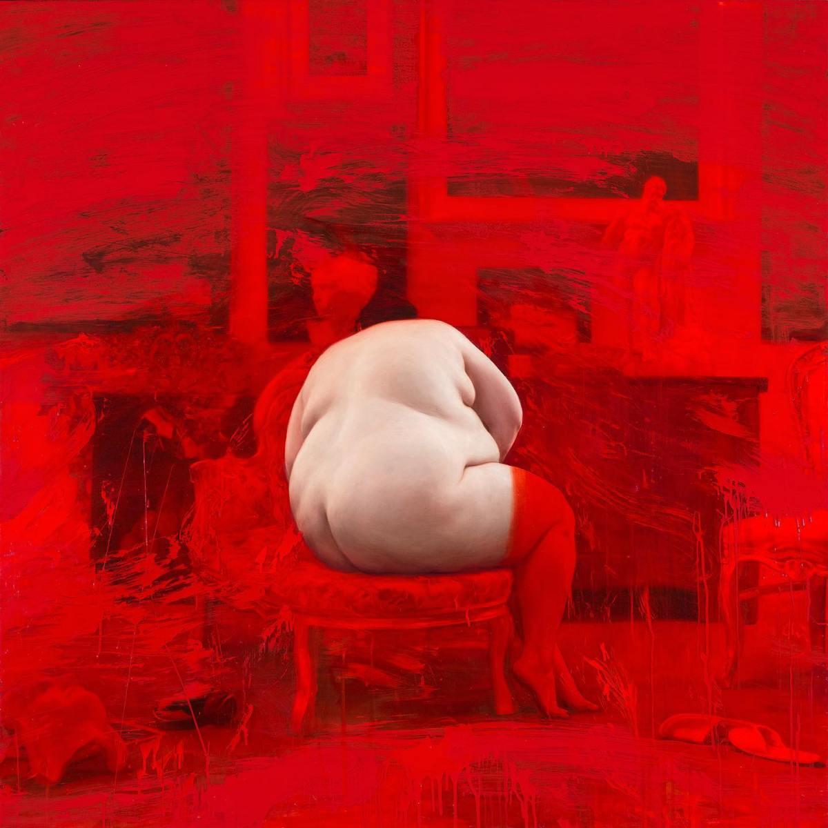 "JORDI DIAZ ALAMA, ""Aurora"" (""Red studio"" serie), 2019  |  Mixed media Sobre tela (150x150cm)"